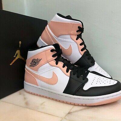 Nike Air Jordan Retro 1 MID Crimson Tint Arctic Orange Black Toe ...