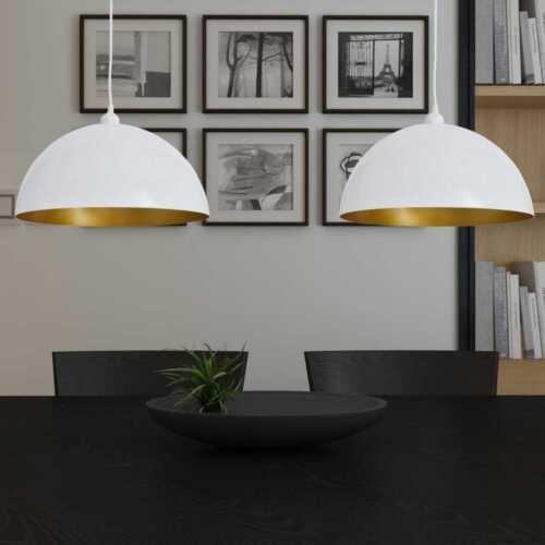 2x Pendelleuchte schwarz//weiß-gold Hänge-Leuchte Decken-Lampe Küche Esszimmer