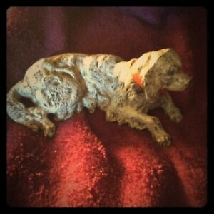 "Vintage Hubley 5"" Cast Iron Spaniel Paper Weight - Head turns RARE"
