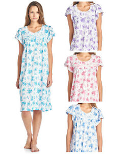 Casual-Nights-Women-039-s-Cotton-Short-Sleeve-Nightgown-Sleep-Dress-Gown