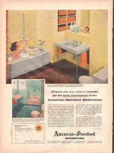 1955 American Standard PRINT AD Pink Yellow bathroom great ...