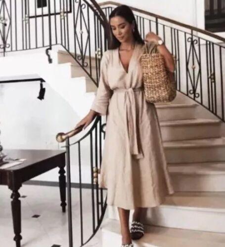 Bloggers S Zara Size Sand Bnwt Dress Favorite Lino YxHnpwqX6