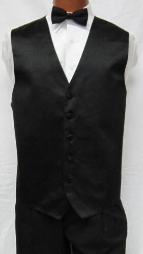 XL Long New Mens Black Satin Fullback Vest /& Bow Tie Formal Big /& Tall  NWT
