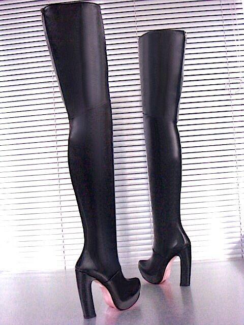 Grandes zapatos con descuento MORI LUXURY OVERKNEE PLATFORM BOOTS STIEFEL STIVALE BOTAS LEATHER BLACK NERO 38