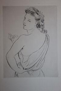 Estampe-originale-Pointe-seche-de-Andre-Michel-1945-femme-grece-33-x-24-5-cm