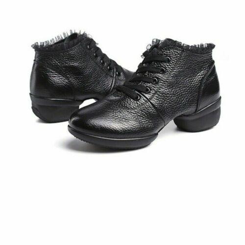 Lady Ballroom Dance Shoes Lace Leather Latin Waltz Tango Soft Outsole Black