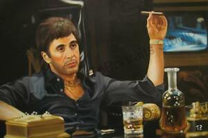 Scarface-Tony-Montana-Original-Hand-Painted-Movie-Poster-Oil-Canvas-Painting