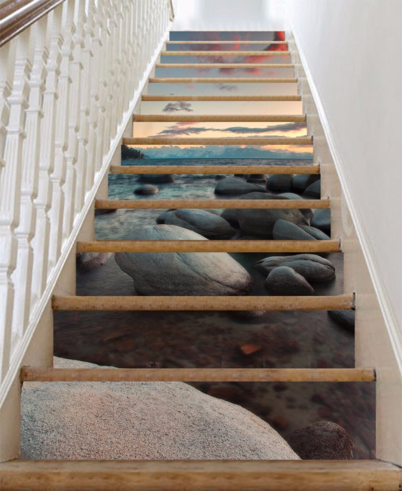 3D Seaside Stone 89 Stair Risers Decoration Photo Mural Vinyl Decal Wallpaper AU