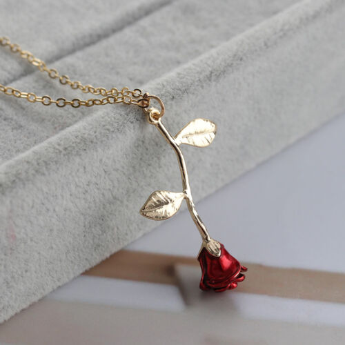 Chic Delicate Rose Flower Pendant Necklace Beauty Rose Gold Silver Charm Jewelry
