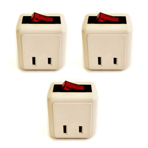 3x Single Outlet Wall Tap Adapter W Lighted Switch Power On//Off Control BEIGE