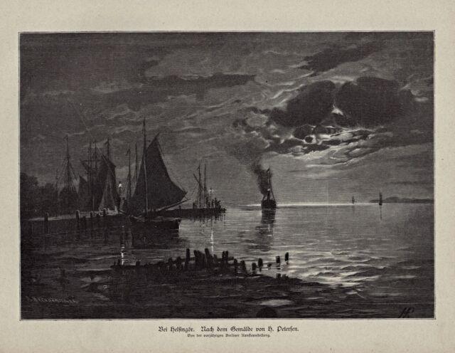 Dänemark, Danmark - Helsingör - Maritime Ansicht - Stich von 1885