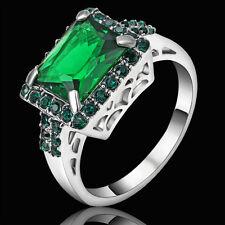 Size 7 Vintage Princess Cut Green Emerald Wedding Ring white Rhodium Plated gift