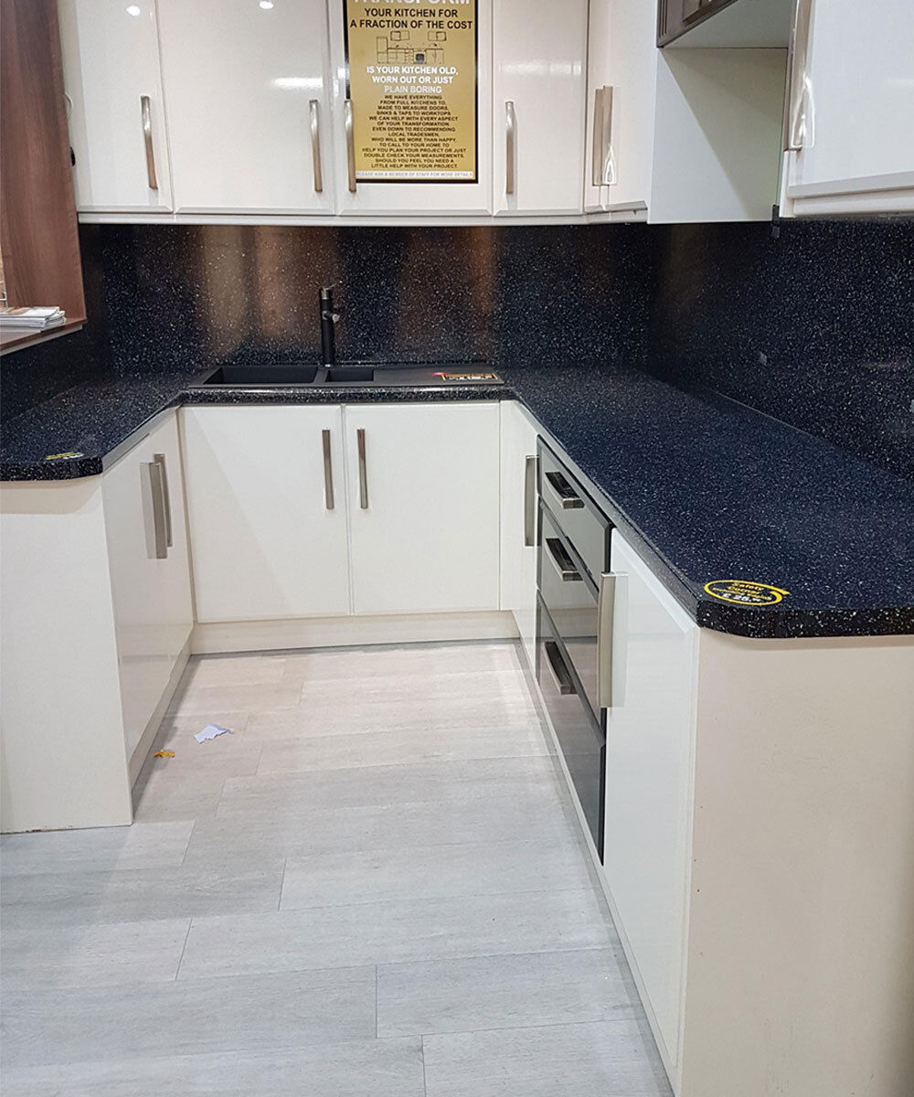 Black Sparkle 30mm Laminate Kitchen Bathroom Office Worktop ...