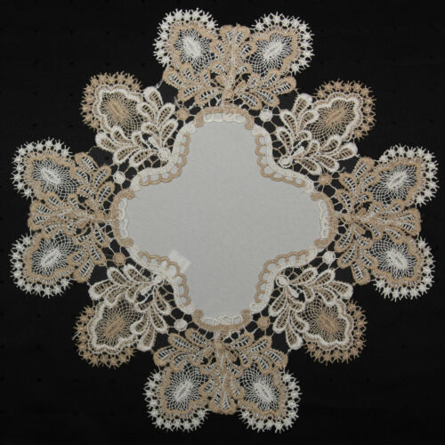 Antique Formal European Lace Table Toppers Runner Doily Cream Beige Brown