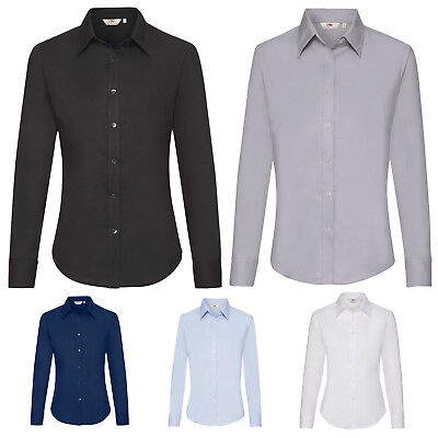 Lady Fit Long Sleeve Oxford Shirt Fruit of the Loom Classic collar