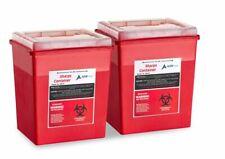 Adirmed Sharps Container Biohazard Needle Disposal Flip Open Lid 8 Qt 2 Piece
