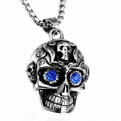 Stainless Steel Silver Gem Skull Necklace Top Quality Jewellery For Men A788