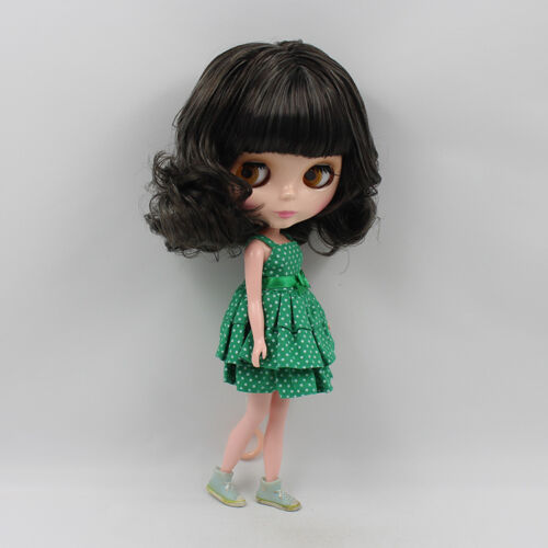 "Takara 12"" Neo Blythe Doll From Factory black short hair with green dress new"