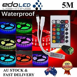 5050 Rgb 5m 300 Leds Smd Led Strip Light 12v Waterproof 24 Key Ir Controller Ebay