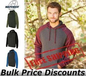 Independent-Trading-Co-Mens-Raglan-Hooded-Pullover-Sweatshirt-IND40RP-up-to-3XL