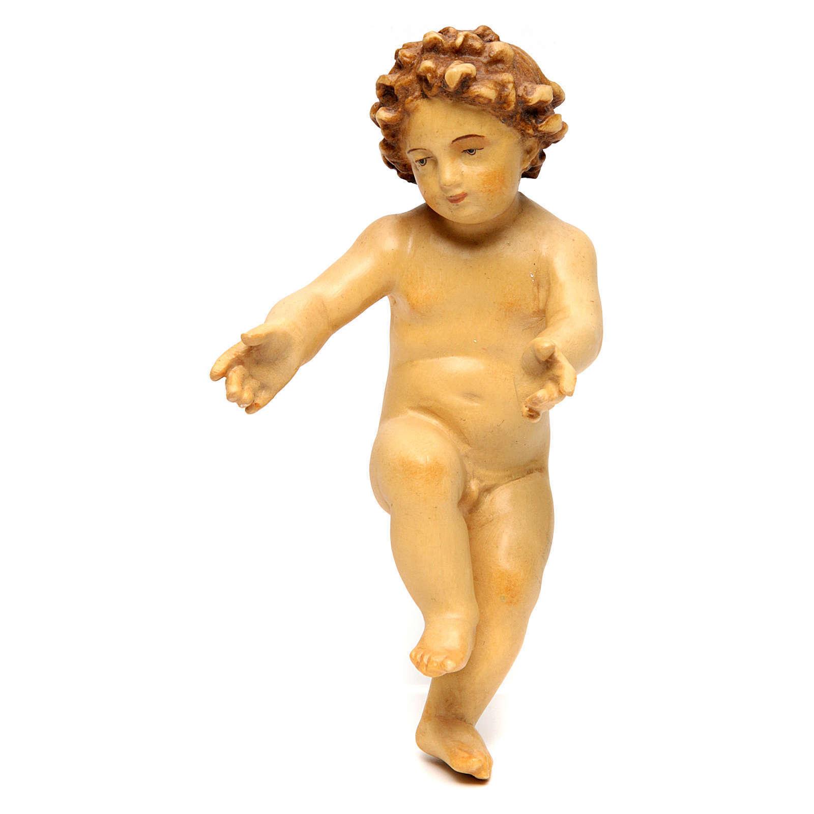 Enfant Jésus en bois Couleuré avec nuances de brun