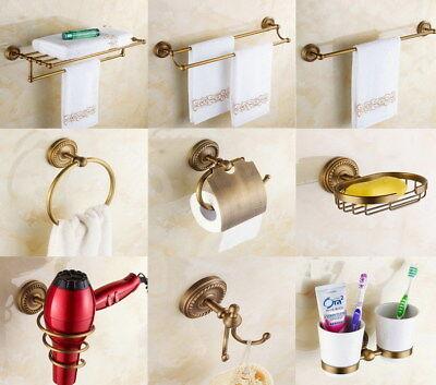 Antique Brass Wall Mount Bathroom Accessories Set Bath Hardware Towel Bar Zx004