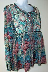 RAGA Free People Mystic Waves Top/Blouse S Embroidery Tassel Tie Hippie Boho