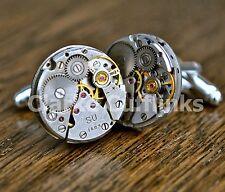 Watch Movement Steampunk Silver Cufflinks Cuff Links Vintage Mens Wedding Gift