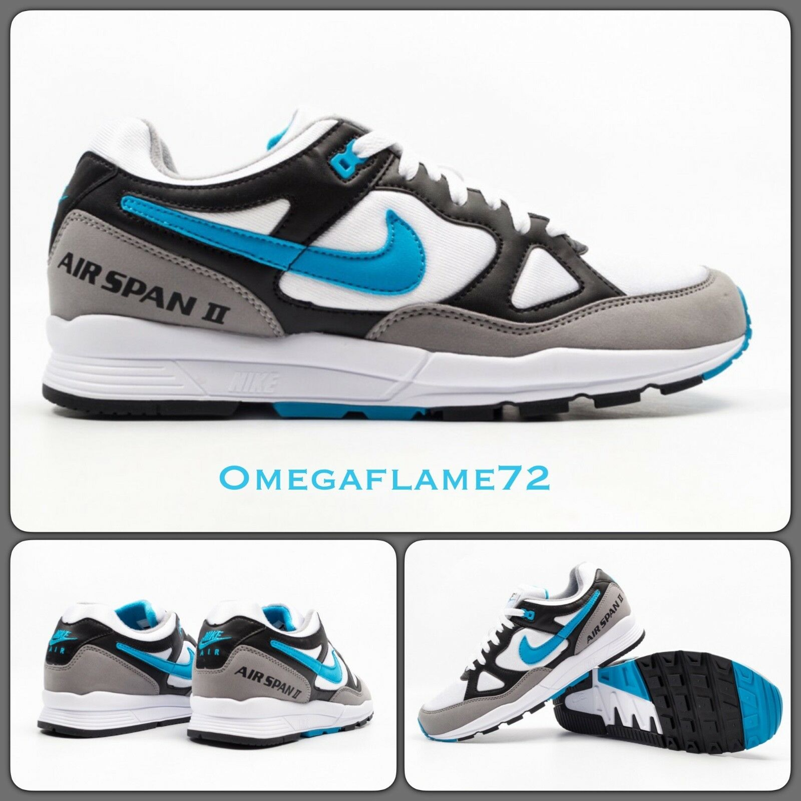 Nike Air Span II 2 og, UK 10.5, EU 45.5, US 11.5, AH8047-001 Laser Bleu & Blanc