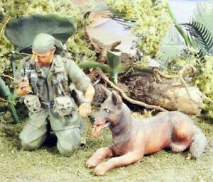 1-35-Resin-US-Soldier-W-dog-Nam-War-unpainted-unassembled-BL748
