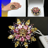 $475 Gianni Versace Blooming Medusa Ring W/ Price, Box & Tag (10)