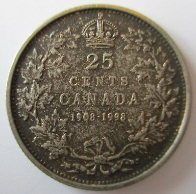 1998 CANADA 1908-1998 ANTIQUE FINISH STERLING SILVER 25 CENTS PROOF QUARTER COIN