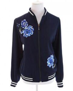 Susan-Graver-Embroidered-Blue-Floral-Full-Zip-Up-Ringer-Bomber-Jacket-Women-Sz-M