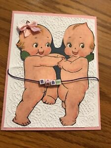 Baby-Girl-Card-Pink-Ribbon-Kewpies-Dance-Beads-Baby-Handmade
