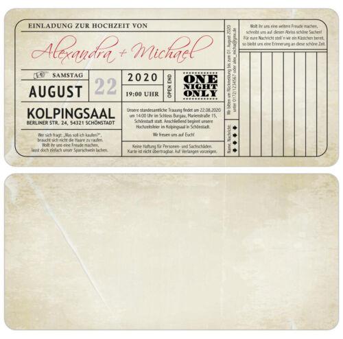 Vintage Cartes d/'invitation au mariage avec réponse-partie-invitation