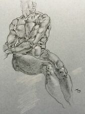 Inspired By Da Vinci Drawings Portrait Art Signed Original pen&Ink A3 Male Nude
