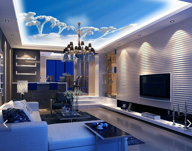 3D White Clouds Sky Ceiling WallPaper Murals Wall Print Decal AJ WALLPAPER US