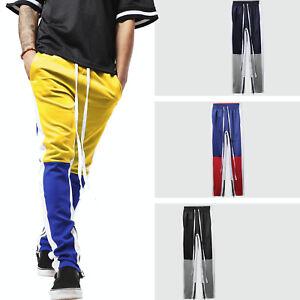 bb00b388bd Mens Track Pants Jogger Hip Hop Poly Side Ankle Zip Long Drawstring ...
