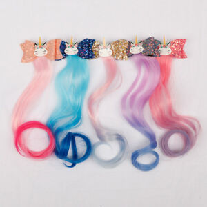 3-034-Cartoon-Unicorn-Party-Glitter-Hair-Clips-Long-Wig-Hairgrips-Kids-Headdress