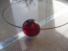 Bernstein Perle, rot, 20 mm, Halskette, Gold Reif