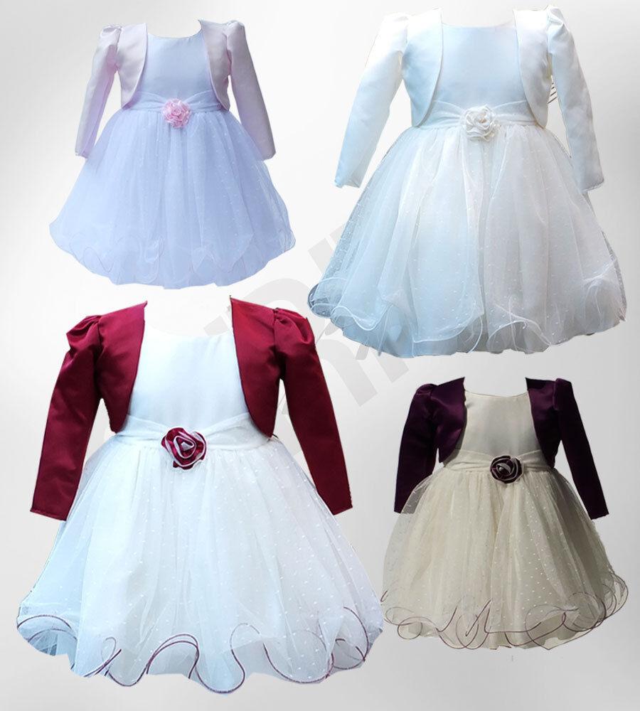 Baby Girls Wedding Dresses With Bolero Christening Flower