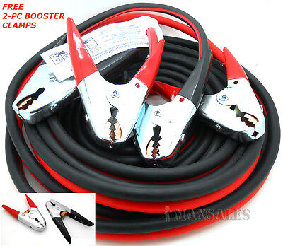 Heavy Duty 20 FT 2 Gauge Booster Cable Jumping Cables Power Jumper 600AMP