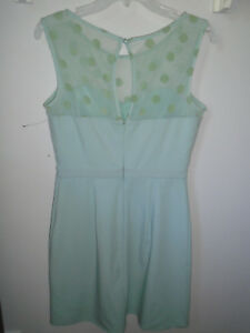 60ab81cc LC Lauren Conrad Dress Green Polka Dots Sheer Sweetheart Neckline ...