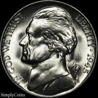 1945-D Jefferson Silver War Nickel 5c ~ GEM BU Uncirculated ~ LUSTER! US Coin