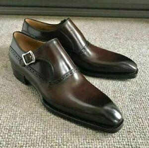 NEW-Fait-Main-Hommes-Cafe-MARRON-Chaussures-Cuir-Moine-Richelieu-a-sangle-robe-formelle-chaussures
