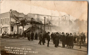 S21-1964-RPPC-Postcard-Disaster-Fire-Ruins-LP-Smith-039-s-Store-Camden-NY-c-1910