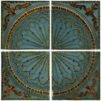 Large Wall Art Medallion French Quarter Home Decor Metal 4pc Panels Blue Gold