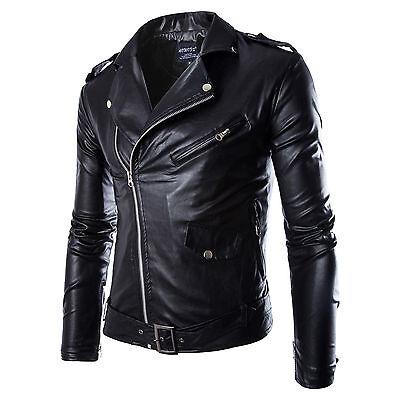 Pu Leather Jacket Men's Casual Slim Fit Motorcycle Jacket Coat Zipper Outerwear