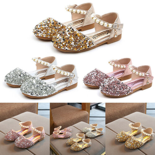 Children Baby Girl Pearl Sequin Shoes Princess Hook And Loop Sandals Dress Shoes