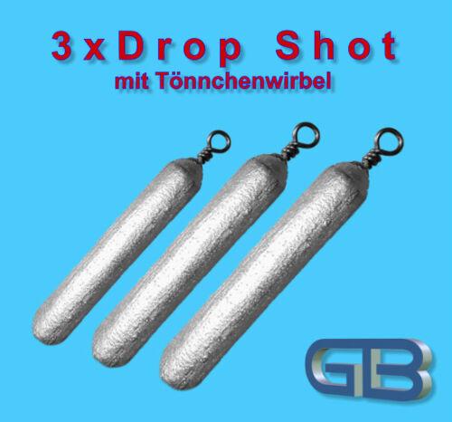 3 x Drop Shot Blei mit Tönnchenwirbel 1,8g Grundblei Barschblei 70g Angelblei